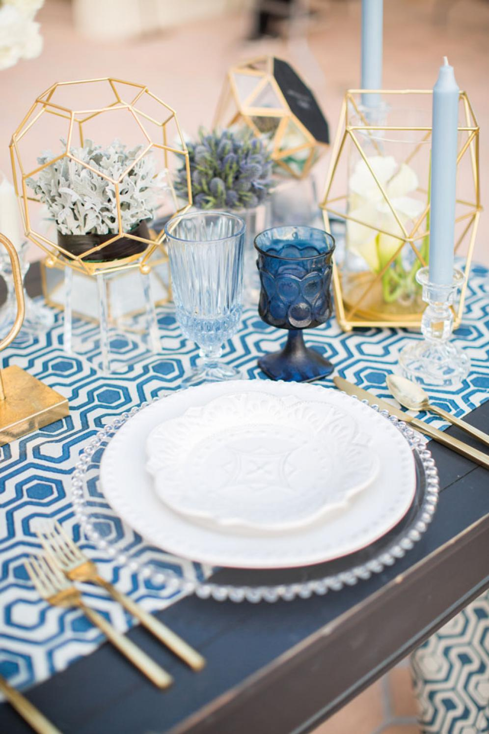 Clear Cut Geometric Blue Toned Styled Shoot By The Sea