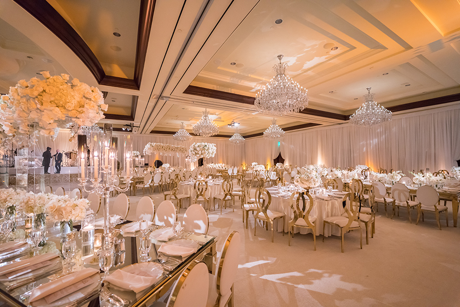 The ballroom at Four Seasons Westlake Village, decorated for Michael and Neda's wedding.