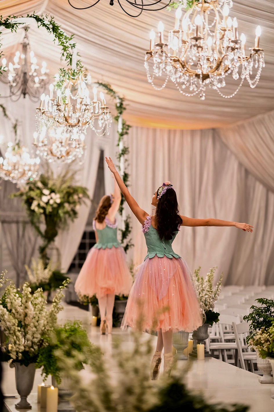Dancers prance down the aisle at Michael and Neda's wedding at Four Seasons Westlake Village