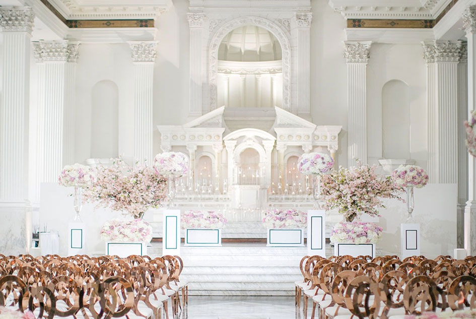The Prettiest Rose Gold Navy Hued Reception At Vibiana