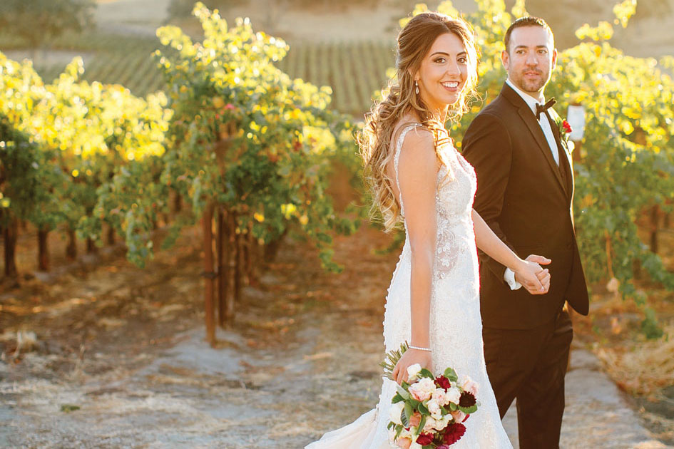 Beautiful mountains and vineyards set the backdrop for an elegant yet cozy celebration