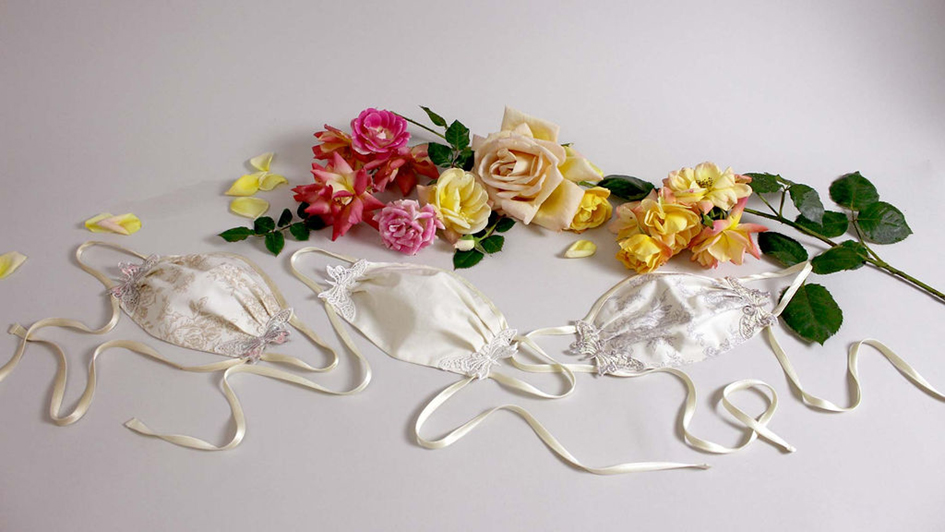 Collection of masks designed by bridal designer Claire Pettibone