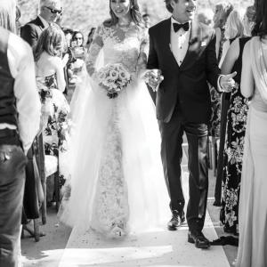 Sarah Keller and David Houck walk down the aisle at their wedding at Kestrel Park in Santa Ynez.