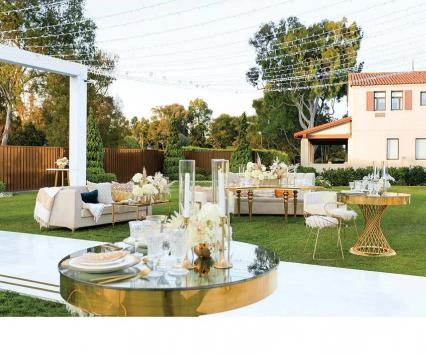 The winning couple, Kellie & Tyler wed at The Riviera Country Club featuring a theater-style f loor plan combining the ceremony and reception created by BreLuxe Beauty and Shawna Yamamoto Event Design.