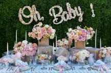Inspired by the soft green tones of the Wiggle linen, Hilary Hamer and Avant Garden showcased a gorgeous tablescape fit for a chic baby shower.