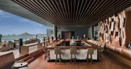Panoramic views of Mexico's Sea of Cortes from The Cape hotel's lobby bar