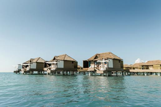 Overwater bungalows at Sandals South Coast in Jamaica